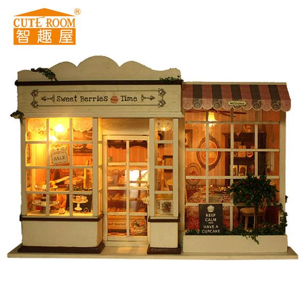 Mobili per casa di bambole Fai da te Modello di edificio Miniatura per casa di bambole Giocattoli per bambini Compleanno Regali di Natale Bacche dolci