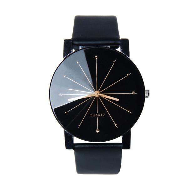 2018 Nouvelle Mode Simple Lovers Couple Montre Hommes Femmes Horloge À Quartz PU En Cuir Cadran Horloge En Cuir Montre-Bracelet Relogio Masculino