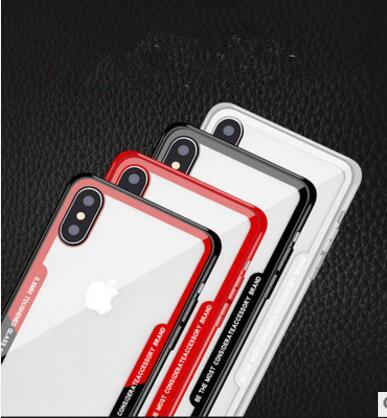 Ultra-thin Imitation Glass Clear PC Cell phone Case Hybrid TPU Button Transparent Acrylic Protective Back Cover for iphone X 7 8 6 plus