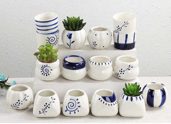 New Succulents Pots Decorative Fashion Simple White Mini Flower Pots Planters Succulent Plant Potted On The Desk Home Secoration