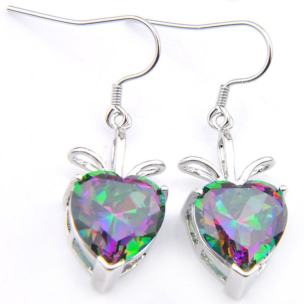 New products Free Shipping- 2pairs Valentine's Day Lucky Shine Heart Rainbow Mystic Topaz Gems 925 Sterling Silver Plated Drop Earrings