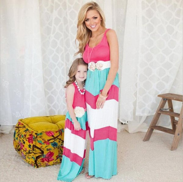Mother Daughter Striped Dresses Family Matching Outfits for Summer Sleeveless Casual Dress Mom Daughter Clothes Family Look 8 Colors