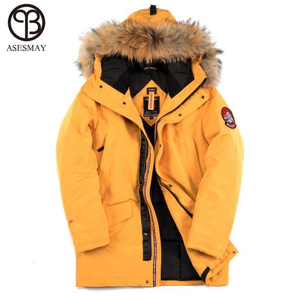 Asesmay 2018 Men Padded Parka Natural Real Fur Hooded Coat Men Winter Jacket Fashion Thick Parka Jacket degree -40 European Size