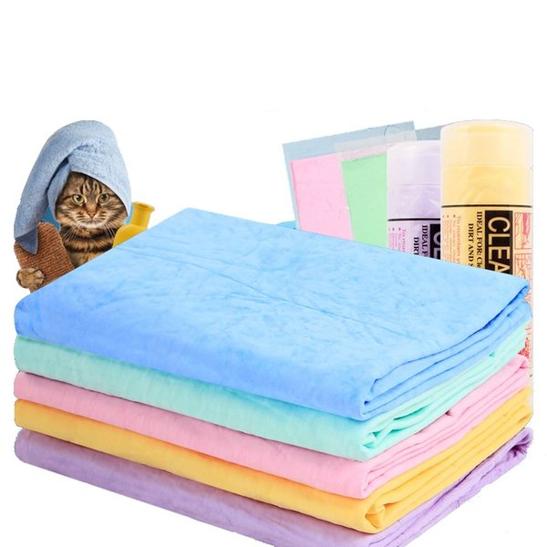 Pet Dog Grooming Bath Towels Multifunctional PVA imitation deerskin super absorbent towels car cloth Sport Sweat towels 5 colors