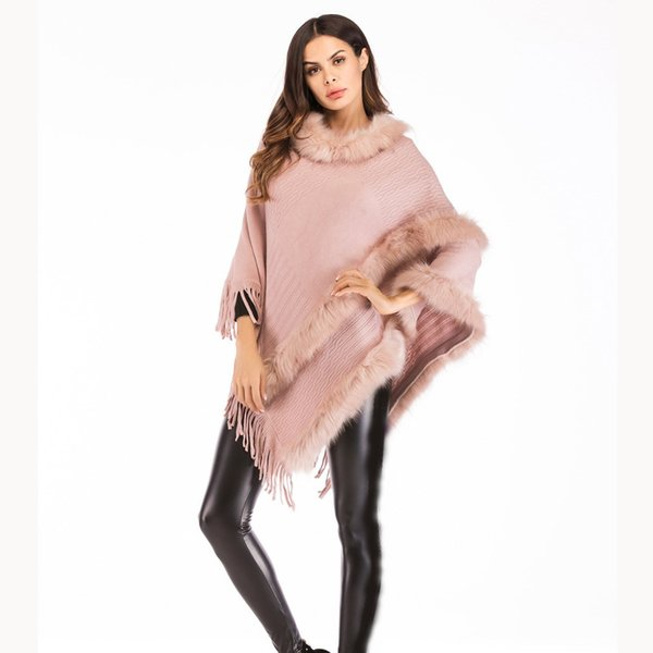 Winter Women Faux Fur Ponchos And Capes Ladies Batwing Sleeve Knit Sweaters Pullovers O-Neck Tassel Faux Fur Sweater