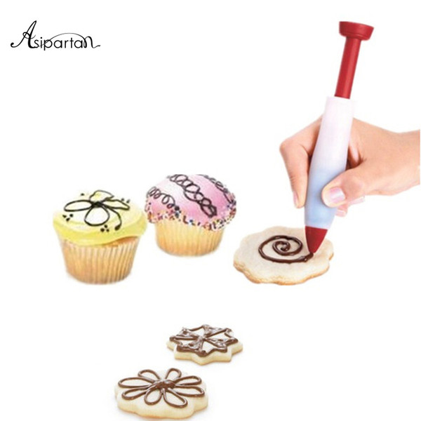 Asipartan Silicone Chocolate Salad Sauce Nozzle Pen For Decorating Cookies Cake Pastry Baking Tools DIY