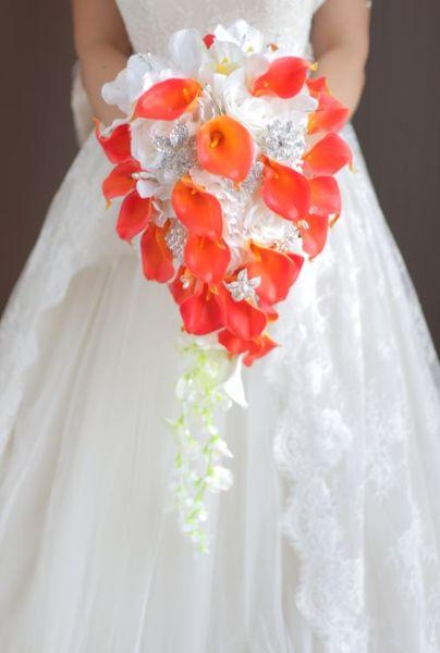 Custom drip wedding bouquet orange calla white rose DIY brooch bridal bouquet