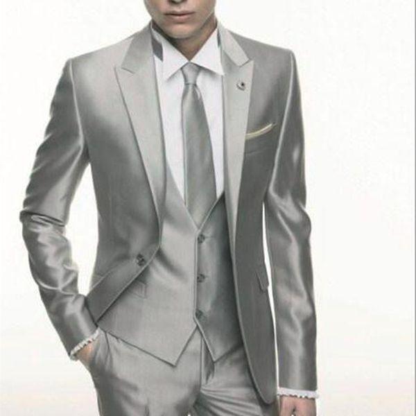 Silver Grey Satin wedding Men Suit 2018 Formal Skinny Stylish Male Blazer Party Custom Tuxedo 3 Piece Vestidos mens suits