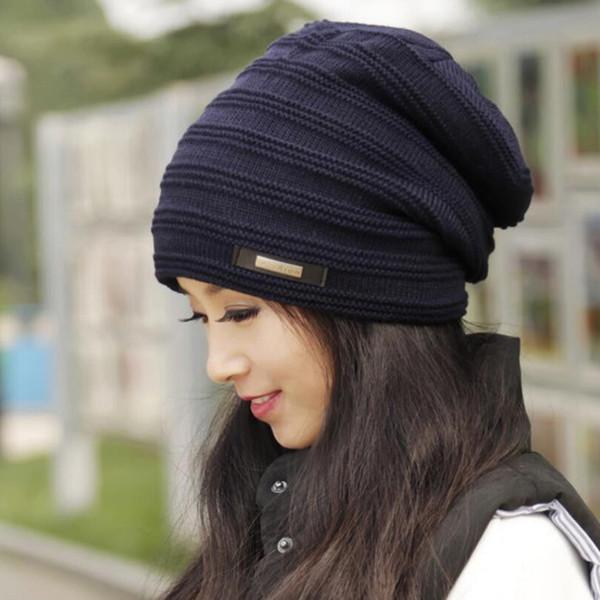 Wool Knitted Warm Winter Hats For Men Women 2017 Slouchy Beanie Faux Fur Ladies Baggy Hat Gorro Crochet Caps Skullies Bonnet