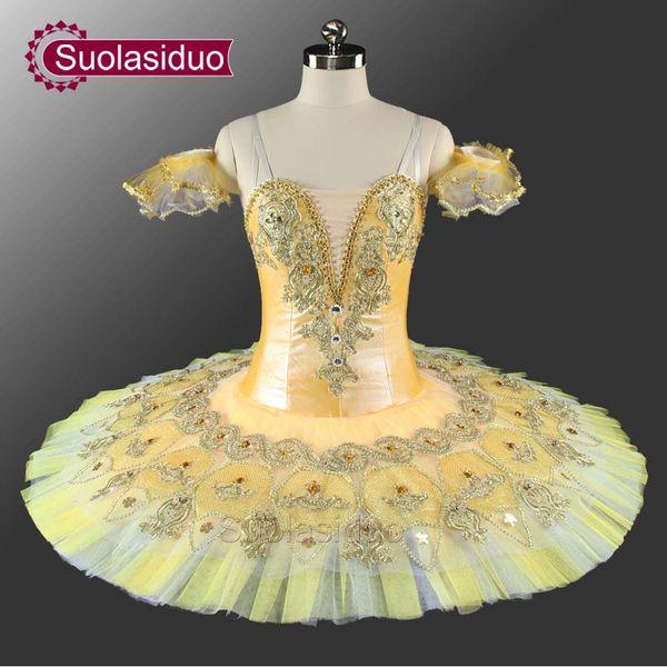 2019 Yellow Professional Stage Ballet Tutu Costumes Adult Performance  Competition Dancewear Girls Ballet Skirt Children Ballet Dance Dress From
