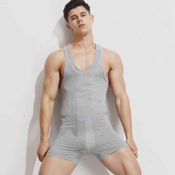 top popular Cotton Sexy Home Men Joint-Body Tank-Tops Solid Bodysuit Men Flexible Tight Home Wearing Clothes Breathable Man Sleepwearing 2019