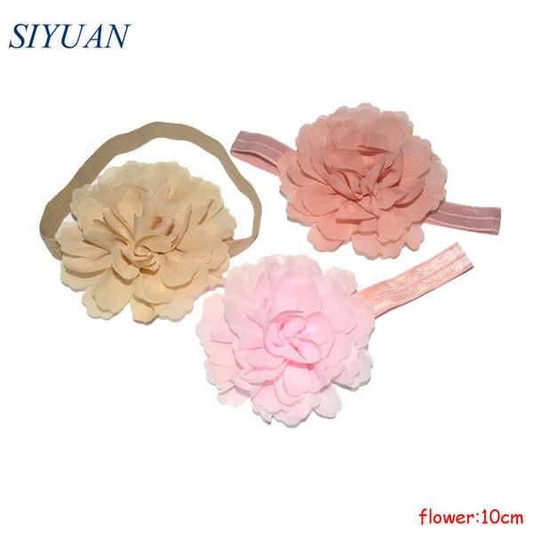 20 adet / grup Kız Moda Elastik Bandı Büyük Şifon Çiçek Saç Bandı Çocuklar Fotoğraf Sahne HB031