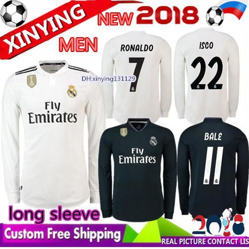FREE Ship 2018 2019 Real madrid long sleeve Soccer Jersey 18 19 CR7 RONALDO  MODRIC ISCO c1032de09