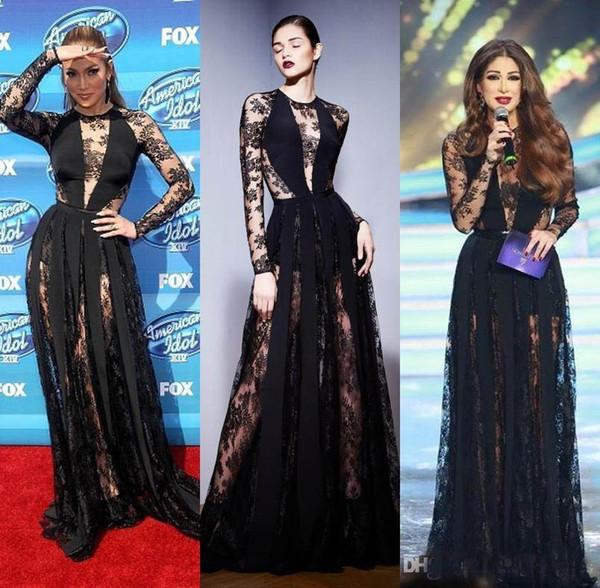 2018 Mdoern Black Illusion Long Sleeves Full Lace Evening Dresses Zuhair Murad Designer Floor Length Formal Celebrity Party Gown