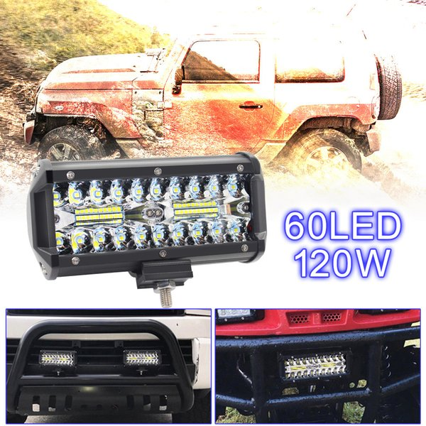 7 Inch 120W 16000LM 6000K White LED Work Light Bar Waterproof Three Rows Car Worklight for Offroad Truck Motorcycle ATV Boat