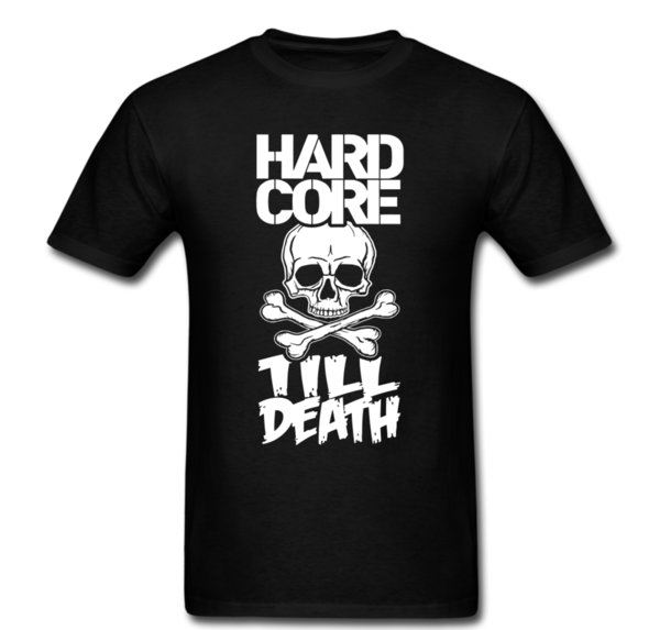 Hard Core Till Death Skull Bones Fight camiseta Tee Unisex hombres Funny O Neck manga corta camiseta de algodón