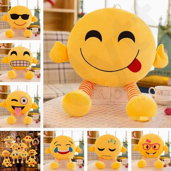 New Originality Facial Decorative Pillows Expression Pillow With Legs Lovely Emoji Plush Toy Doll Cushion Gift Wholesale T7G006