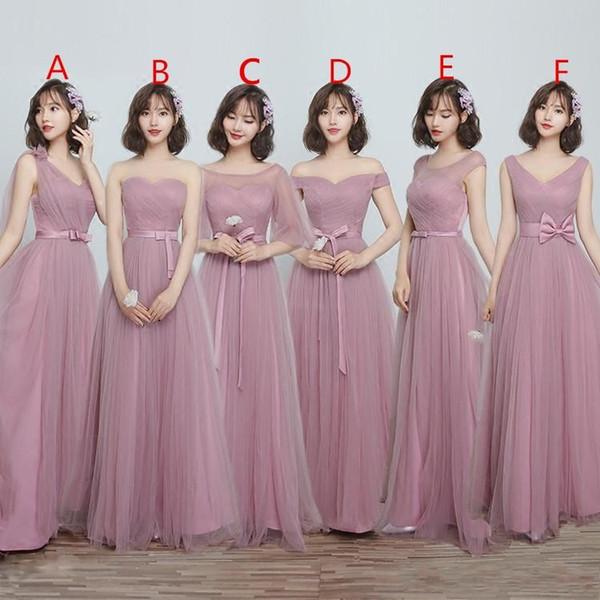 Maxi Style Tulle Abiti da damigella d'onore Una linea floor-lunghezza Lace Up Torna Maid Of Honor Wedding Guest Gown Per Garden Beach Chi Wedding