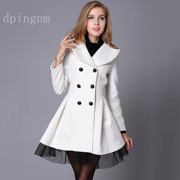 4b4f5740993 Autumn Winter Trench Coat for Women Adjustable Waist Slim Solid Black Coat  White Long Trench Female