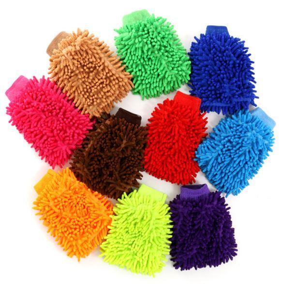 9 colors Microfiber Snow Neil fiber high density car wash mitt car wash gloves towel cleaning gloves WN487 100pc