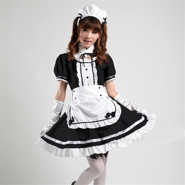 Akihabara Cosplay Sexy French maid Costume Cute Girls Black Lolita Dress Uniform Lolita School tulle Halloween Costume for Women