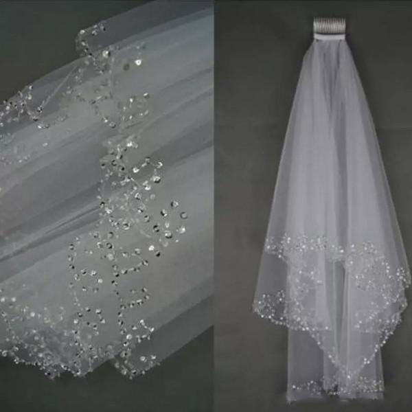 Bling 1.5 Metre Kristaller Beaed Ile Iki Katmanlar Gelin HeadPieces Veils Pattrens Tarak Yumuşak Tül Kumaş Düğün Parti Için