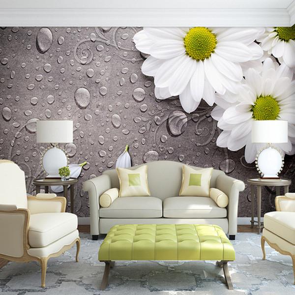 Großhandel Benutzerdefinierte 3D Fototapete Schlafzimmer Für Wände Weiße  Wassertropfen Blume Hintergrund Dekorative Wandbilder Tapete Wohnzimmer Von  ...