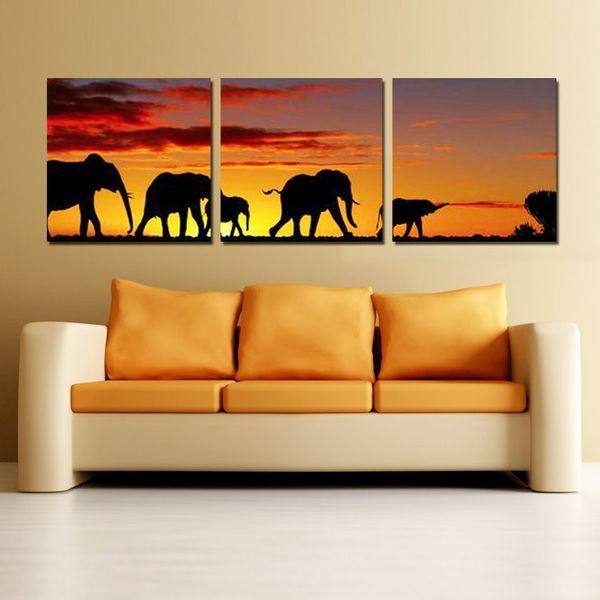 Acquista Dipinti A Mano 3 Pannelli Su Tela Arte Elefanti Africani Dipinti  Su Tela Idee Pittura Decorazione Delle Pareti Della Camera Da Letto A  $41.04 ...