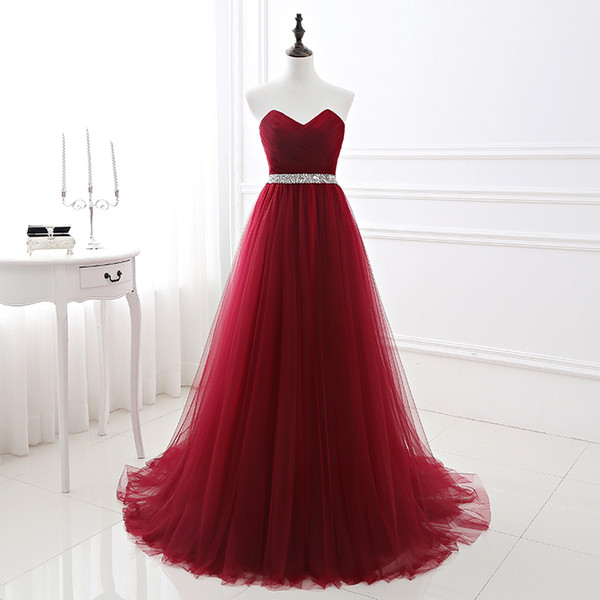 top popular Simple 2019 Women Wine Red Evening Dress Formal Tulle Dresses Sweetheart Neckline Sequin Beaded Prom GraduationParty Dress C18111601 2021