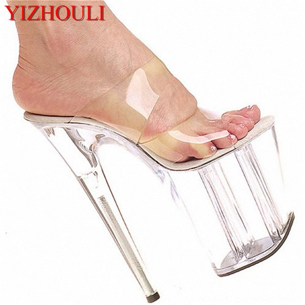 2018 Full Transparent Crystal Formal Dress Sexy Shoes 20cm Ultra High Heel Shoes Fashion 8 Inch Striped High-Heeled Slippers