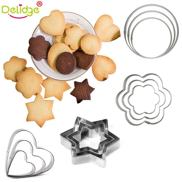 Delidge 3 pcs/set Cute Shape Cookie Molds Stainless Steel Star Heart Flower Round Cookie Cutter DIY Cake Molds Egg Frying Mould