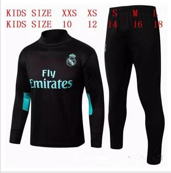 HAVE SPONSOR 2017 kids Real Madrid survetement football KIDS tracksuits 2018 Ronaldo Long pants wear YOUTH training suit jacket kit
