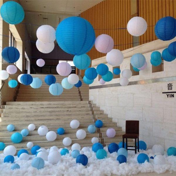 Yuvarlak Çin Kağıt Fener Doğum Günü Düğün Parti dekor hediye zanaat DIY lampion beyaz asılı fener topu parti malzemeleri