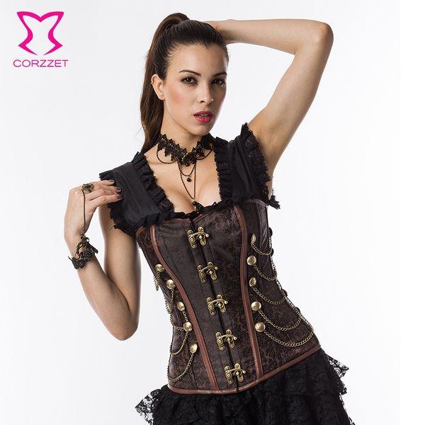 Punk Rave Red Brocade Button Chain Gothic Waist slimming Corsets Plus Size Women Clothing Espartilhos Corset Corselet Steampunk