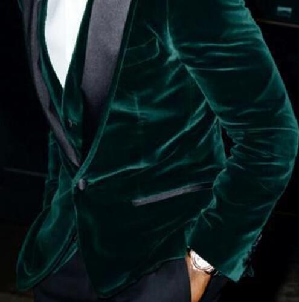 Dark Green Velvet Wedding Men Suits 3Pieces(Jacket+Pant++Vest+Tie) Fashion Skinny Latest Design Terno Masculino Groom Blazer