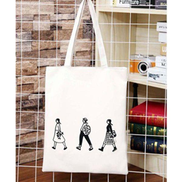 top popular Fashion canvas handbags shoulder bag basket simple shopping bag ladies bag white printing green large-capacity vegetable pocket 2021