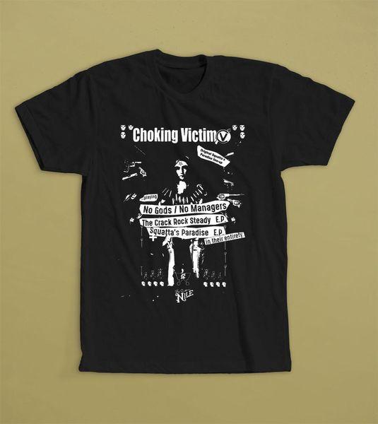 CHOKING VICTIM HIÇBIR TANRıLAR / HIÇBIR MANAGER T-SHIRT SKA PUNK BAND AREA-72 Erkekler için Serin Pamuk T-Shirt Serin Tops T Shirt