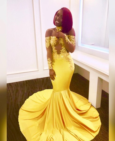 Yellow Mermaid Long Sleeve Prom Dresses Long For Black Girl High Neck Illusions Lace With Beads Evening Dresses SP369