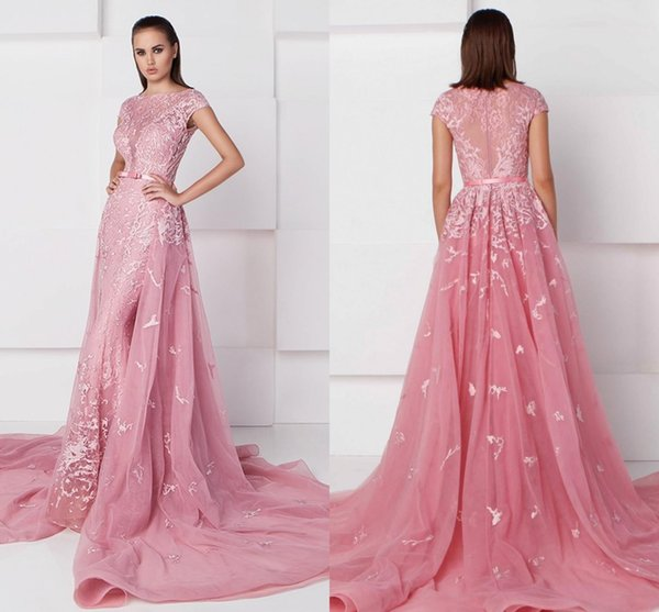 2019 Prom Dresses With Detachable Train Bateau Neckline Appliqued Pageant Gowns Mermaid Tulle Events Dress For Party With Sash Formal Dress