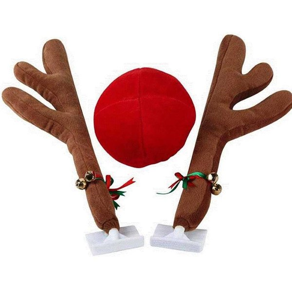 CHRISTMAS Reindeer Antlers Car Costume Antlers & Nose Set Auto Outfits The Original Xmas Reindeer Nose Antler Car Costume Kit