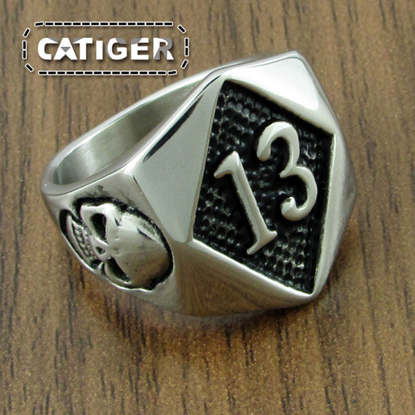 Free Shipping ! Punk Silver White Black color 316L Stainless Steel Thirteen Glamor Skull Ring Rock Number 13 Men's Skeleton Ring Jewelry