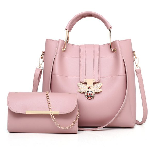 pu leather handbag women messenger crossbody small bags fashion lock female evening party clutches 2pcs bag set