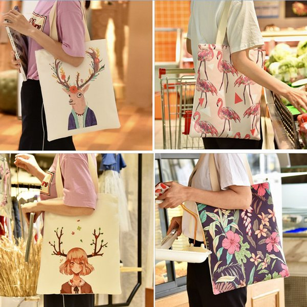 Cartoon Cotton Canvas Bag Fashion Flamingo Printed Students Single Shoulder Bag Mom Shopping Tote Christmas Gift 19 styles