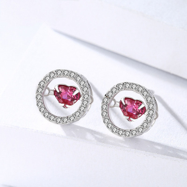 High Polished trending hot products geometry circle earring stud heart cz jewelry 925 sterling silver post earring
