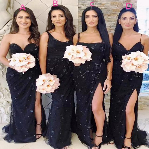 Black Maxi Style Mermaid Bridesmaid Dresses Long Appliques Beads Side Split Maid Of Honor Gown Cheap Formal Wedding Guest Dresses