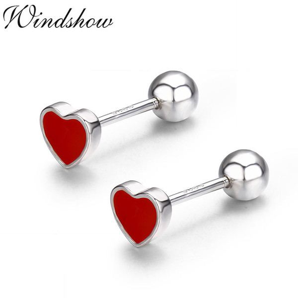 Cute Small Red Peach Heart 925 Sterling Silver Screw Stud Earrings For Women Girls Children Kids Jewelry Orecchini Aros Aretes
