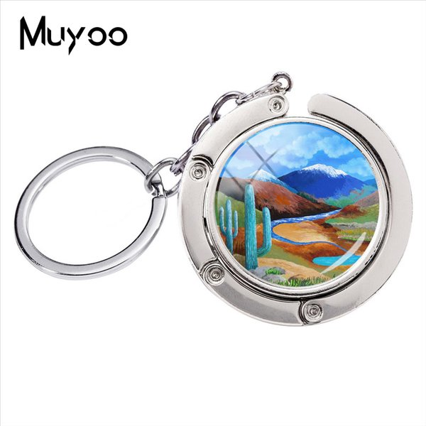New Fashion The River Of Life Glass Round Dome Silver Jewelry Bag Holder Key Chain Handmade Country Scenes Bag Hanger Keychain
