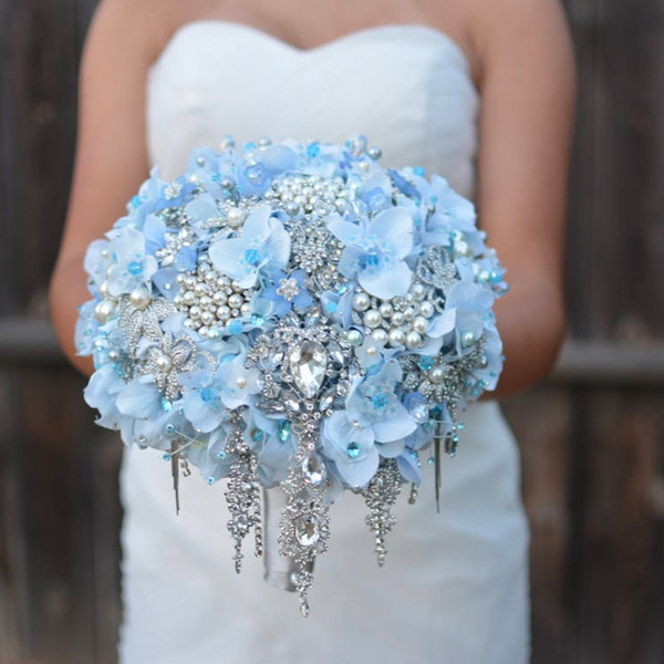 High-end custom wedding jewelry brooch blue paragraph purple hydrangea bride bridesmaid holding bouquet