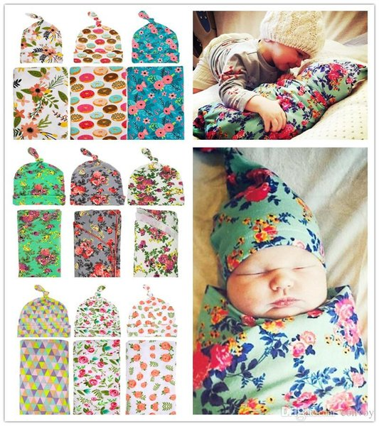 Newborn Baby Swaddle Wrap Blanket Hat set Baby Floral Swaddle Knot Caps Baby Cotton wrap cloth Kids flower print Swaddling Robes BHBZ02