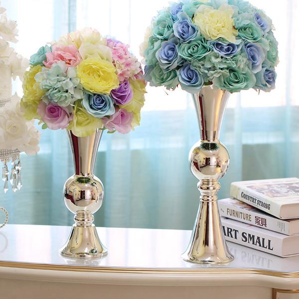 Freies Verschiffen Qualitätssilber-Überzug-Kerzenhalter / Blumenvase / H38.5cm europäische minimalistische Hochzeitstafeldekoration